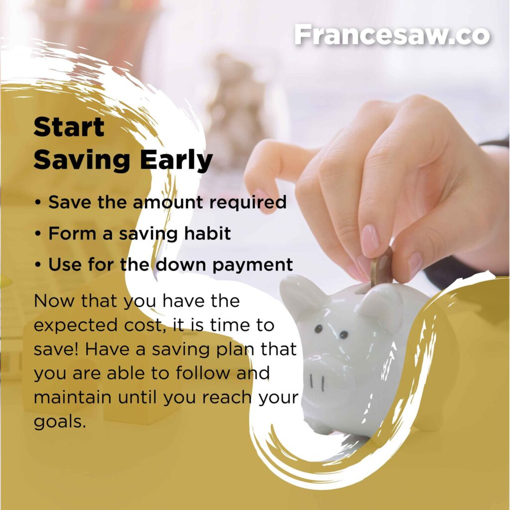 Preparing to buy your first home. Start saving early.